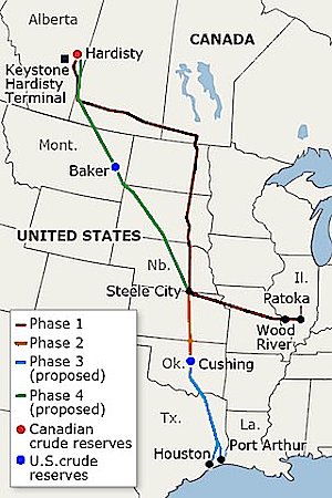 Operational and proposed route of the Keystone Pipeline System. (Data source:TransCanada) – Meclee, Courtesy Wikipedia Commons