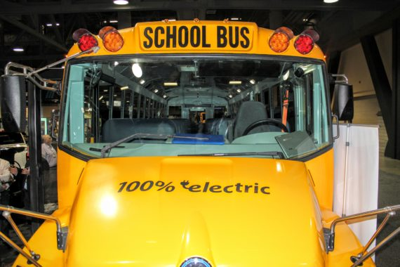 electric yellow school bus